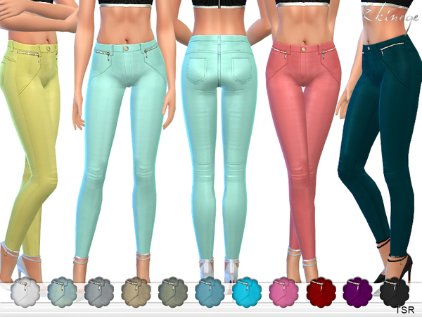 Stretch Skinny Pants With Zips by ekinege