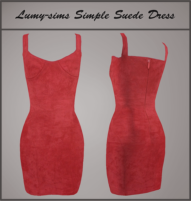 Simple Suede Dress by Lumy-Sims