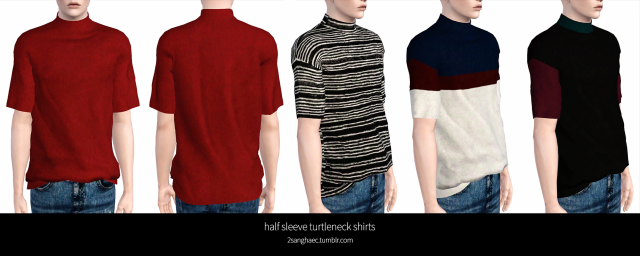 M-half sleeve turtleneck shirts by 2sanghaec