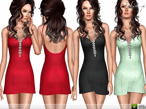 Crochet Lace Mini Dress by ekinege