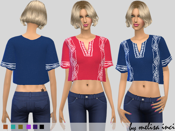 Embroidered Cropped Top by melisa inci