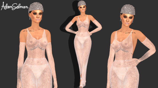 [AlecseyCOOL] Rihanna Adam Selman gown and earrings by Quen2n