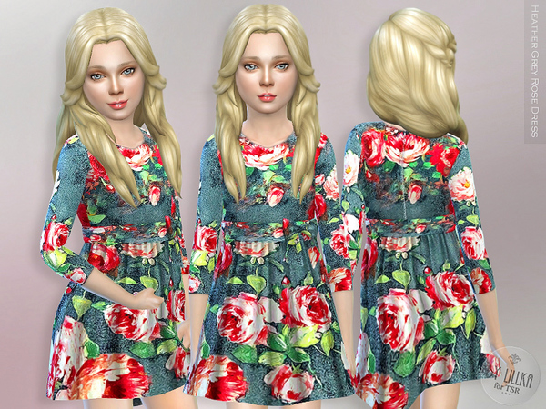 Heather Grey Rose Dress by lillka
