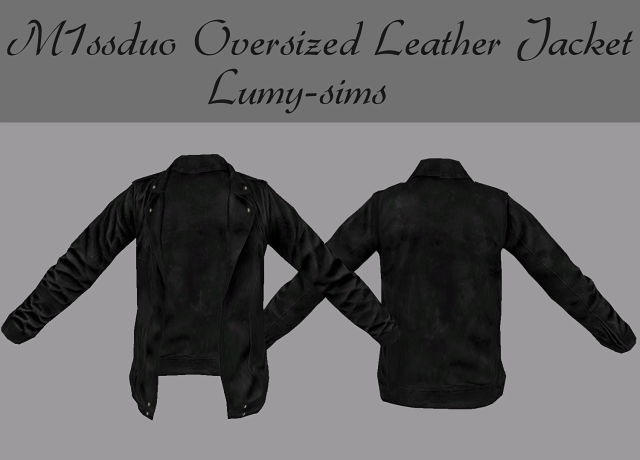 M1ssduo Oversized Leather Jacket by Lumy-sims