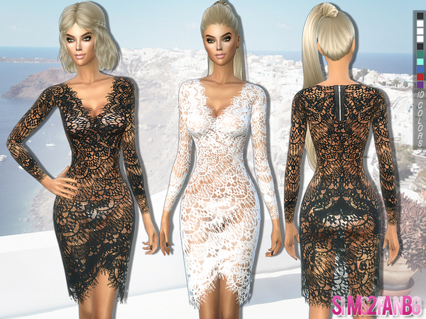 203 - Lace transparent dress by sims2fanbg