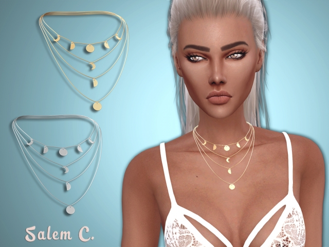 Multirow Moon Necklace by Salem2342