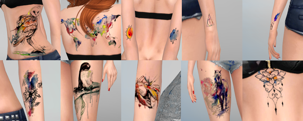 Watercolor Tattoo Set by Overkill Simmer