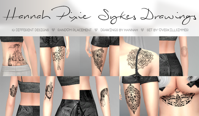 Hannah Pixie Sykes Drawings Tattoo Set by Overkill Simmer