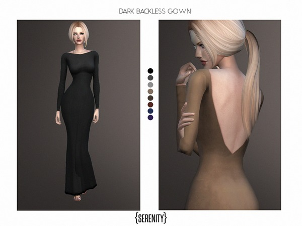 Dark Backless Gown by serenity-cc