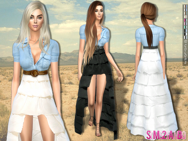207 - Boho waterfall dress by sims2fanbg