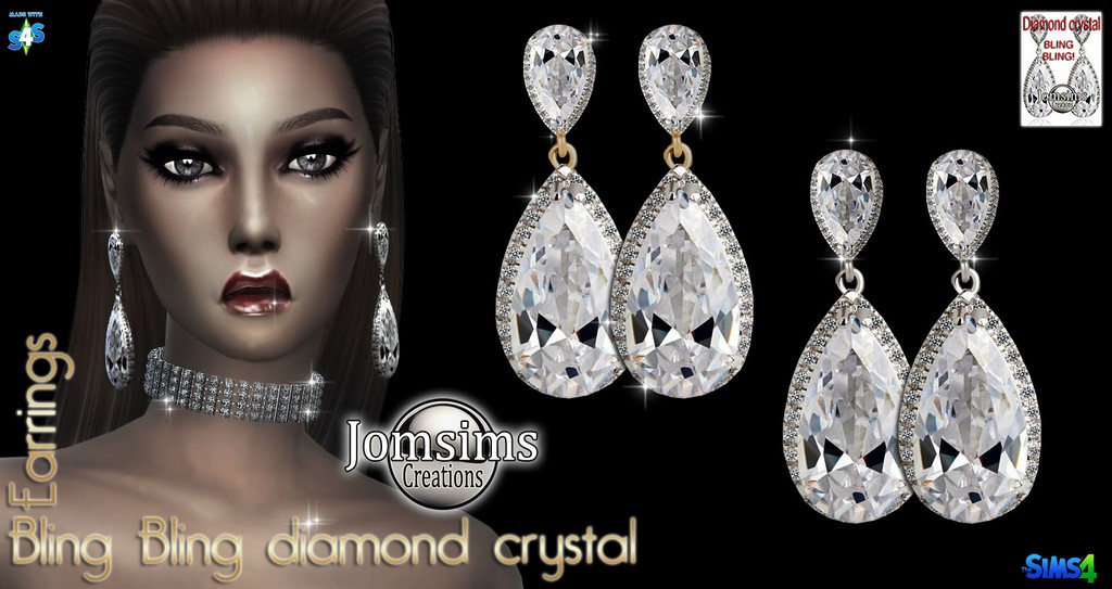 Bling bling diamond crystal earrings by JomSims