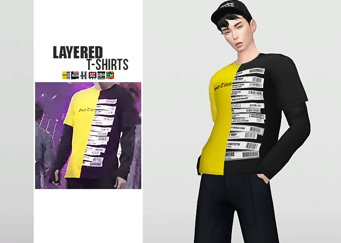Layered T-Shirts for Males by Waekey