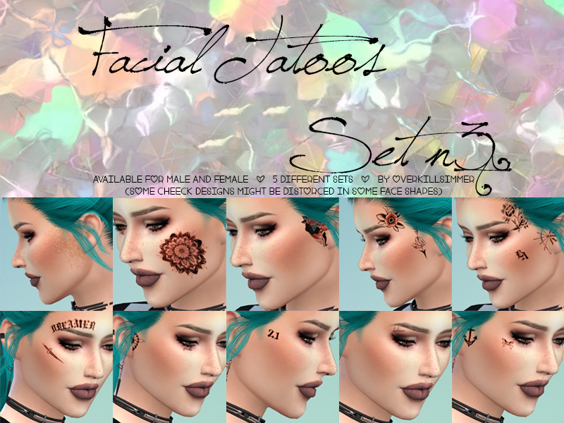 Facial Tattoos Set n 3 by Overkill Simmer