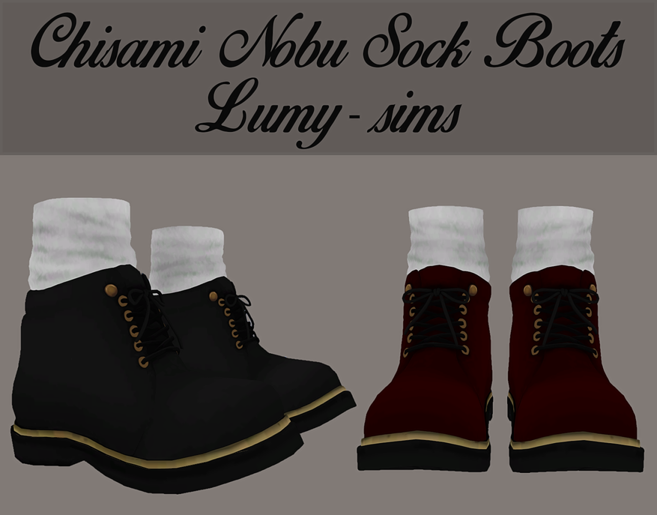 TS3 Nobu Sock Boots Conversion by LumySims