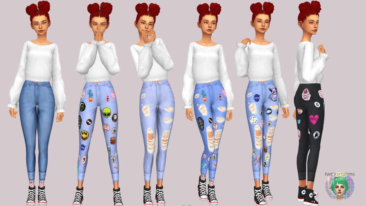 High Waisted Skinnies_w Patches by Twinksimstress