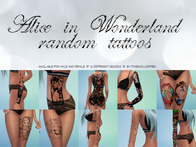 Alice in Wonderland Random Tattoos by Overkill Simmer