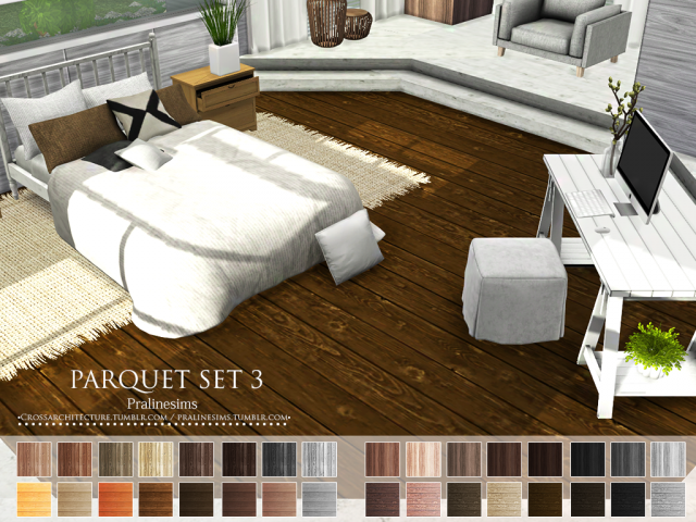 Parquet Set 3 & Wood Walls 6 by Pralinesims