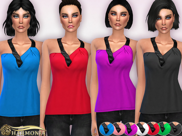 Leather Asymmetrical-Neck Top by Harmonia