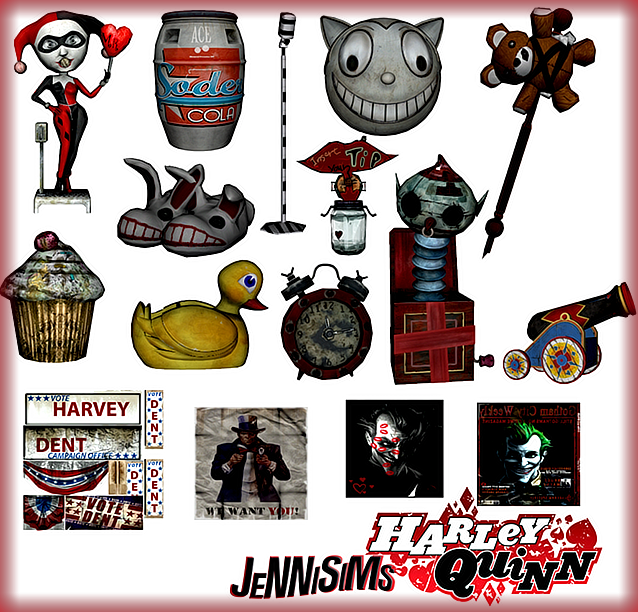 Villains Set - 14 Objects + Accessory Harley Quinn Bat by JenniSims
