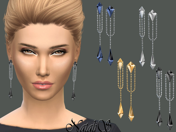 NataliS_Double pyramid drop earrings