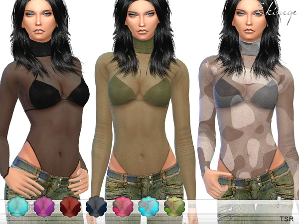 High Neck Sheer Mesh Top by ekinege