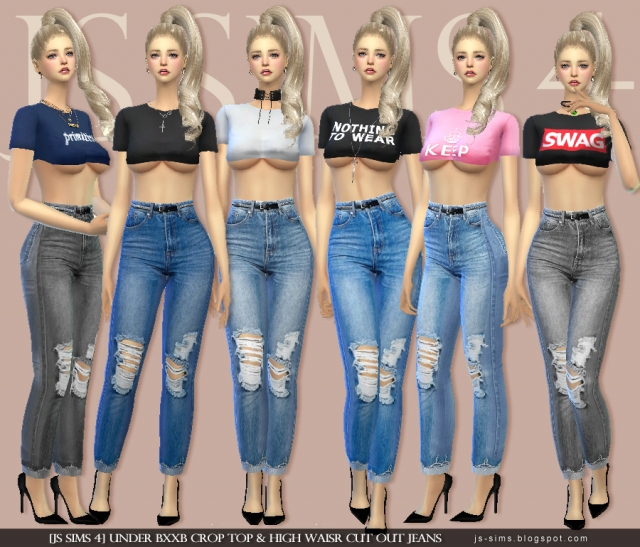 UNDER BXXB CROP TOP & HIGH WAISR CUT OUT JEANS by JS Sims4