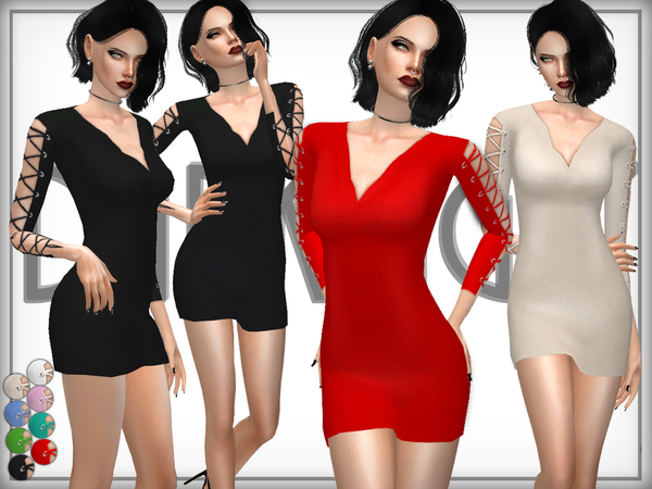 Wool Blend Lace-Up Arm Dress by DarkNighTt