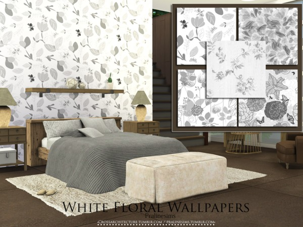 White Floral Wallpapers by Pralinesims