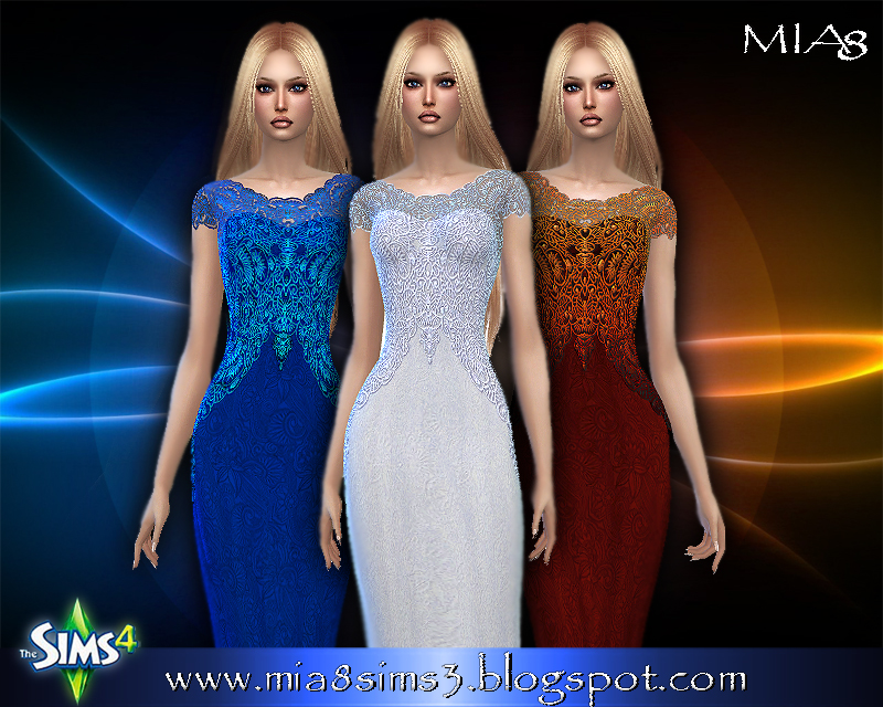 Women's long dress with lace (12 colors) by Mia8