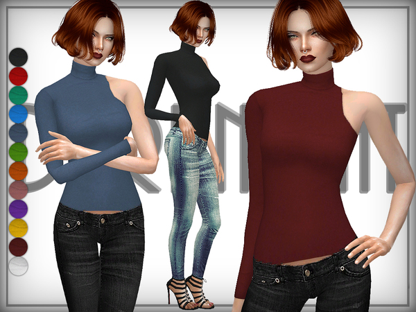 One-Shoulder Turtleneck Sweater by DarkNighTt