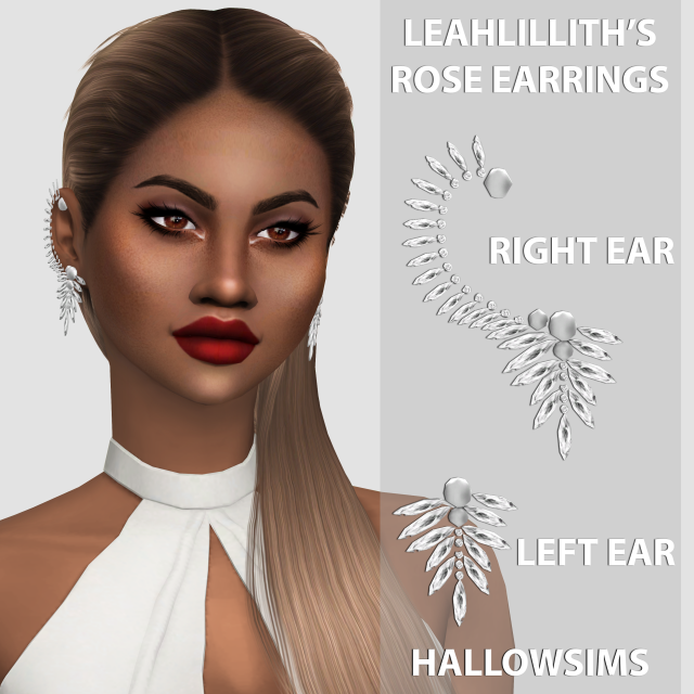 LeahLilliths Rose Earrings by Hallow Sims