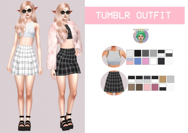 Tumblr Skirt and Top by Twinksimstress