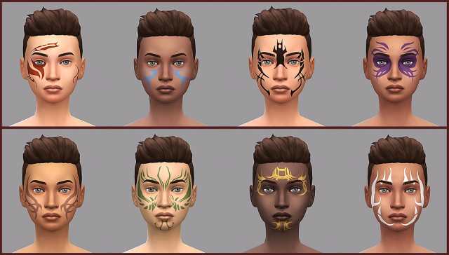 Dragon Age: Origins Tattoos - Human & Mages Set by SourWolfSims