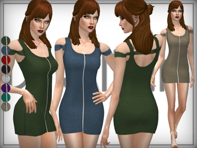 Zip Fronf Bardot Dress by DarkNighTt