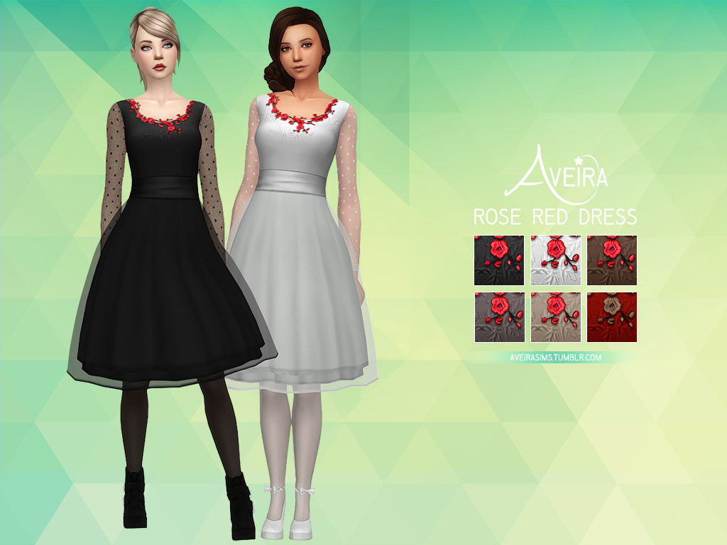 Rose Red Dress by AveiraSims