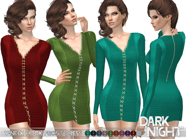 V-Neck Hook Front Dress by DarkNighTt