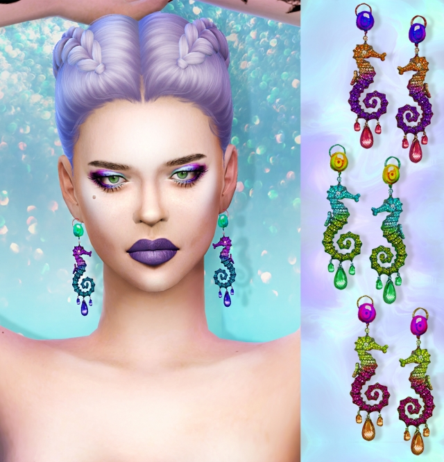 Seahorse Earrings by MissFortune Sims