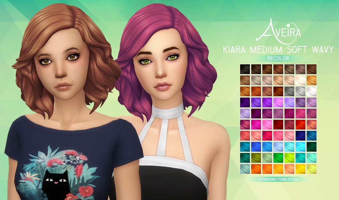 Medium Soft Wavy Hair in 70 Recolors by AveiraSims