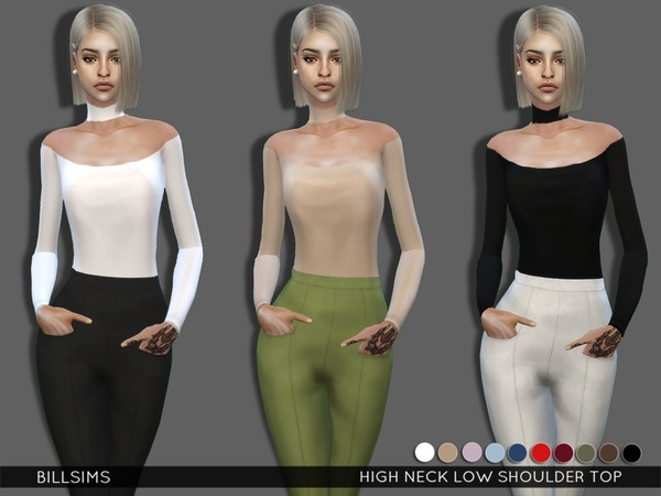 High Neck Low Shoulder Top by Bill Sims