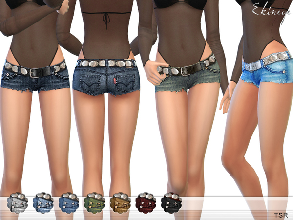 Cutoff Denim Shorts With Belt by ekinege
