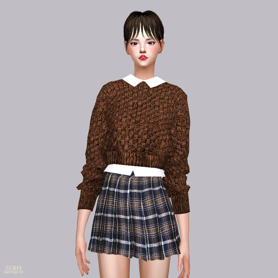 Crop Knit Sweater With Shirts by Marigold