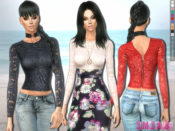 220 - Floral lace top by sims2fanbg