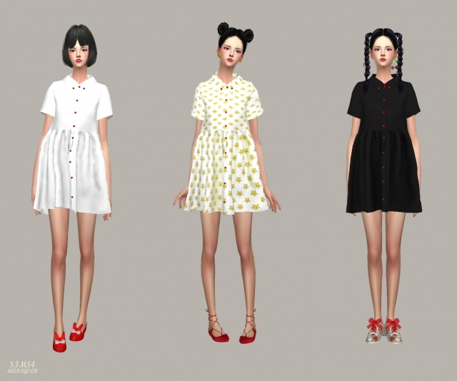 Heart Button Shirts Dress by marigold