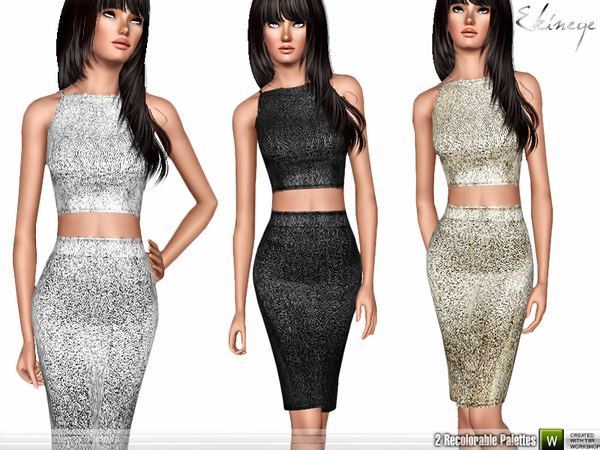 Metallic Two Piece Midi Dress by ekinege