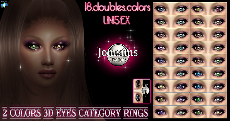 2 colors 3d eyes categorie bagues Sims 4 by JomSims