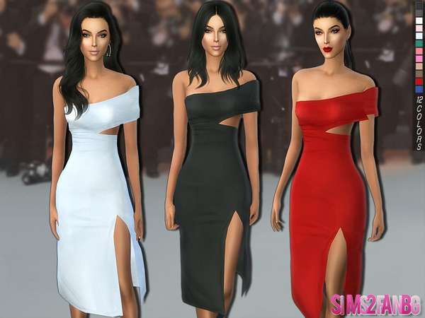 221 - Medium dress with side cutout by sims2fanbg