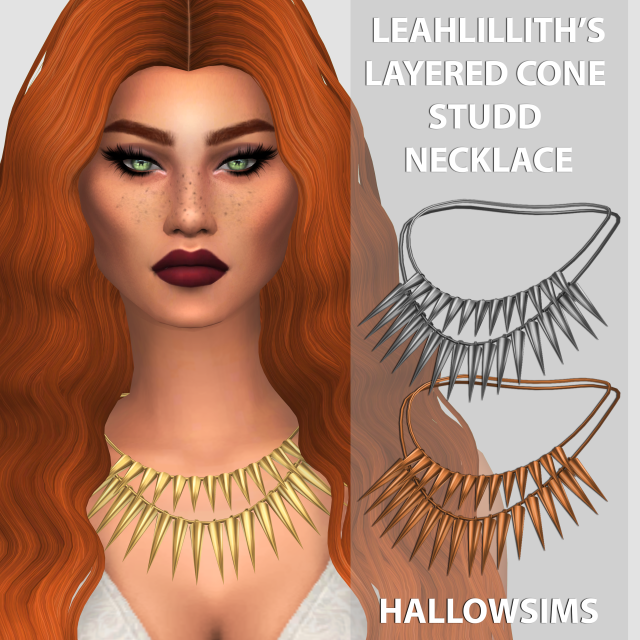 LeahLilliths Layered Cone Studd Necklace by Hallow Sims