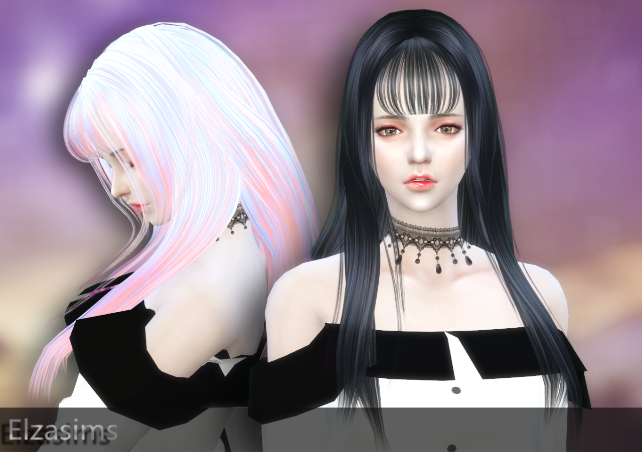 Long Straight Hair and Accessory Bangs by ElzaSims