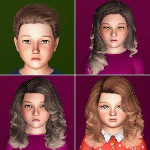 Hairs [mini] dump #50 - Cazy hairs for CHILDREN and TODDLER by IfcaSims
