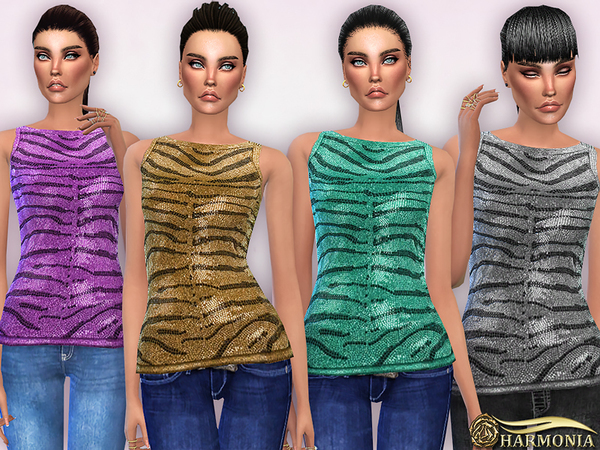 Crystal Embellished Zebra Print Top by Harmonia